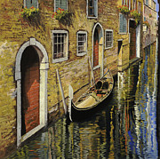Red Door Prints - Gondola a Venezia Print by Guido Borelli