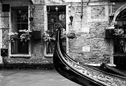 Canals Art - Gondola In Venice bw by Mel Steinhauer