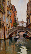 Gondolier Framed Prints - Gondola On A Venetian Canal Framed Print by Rubens Santoro