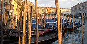 Canals Framed Prints - Gondola Parking Lot Framed Print by Fraida Gutovich