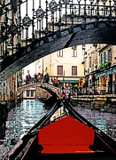 Impressionism Digital Art Prints - Gondola Under Bridge Print by Linda  Parker