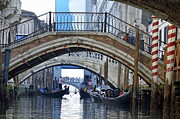 Canals Framed Prints - Gondolas and bridges on canal Framed Print by Sami Sarkis