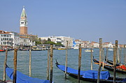 Gondolas At Pier By Grand Canal Print by Sami Sarkis