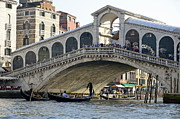 Venice Waterway Posters - Gondolas beneath Rialto bridge on Grand canal Poster by Sami Sarkis