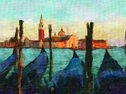 Italian Sunset Digital Art Posters - Gondolas Poster by Bob Galka