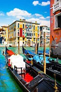 Gondolier Framed Prints - Gondolas in Venice Framed Print by JR Photography