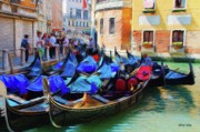 Crowds  Digital Art Prints - Gondolas Print by Jeff Kolker