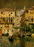 Rubens Digital Art Metal Prints - Gondolas Leaving A Residence On The Grand Canal Venice Metal Print by Rubens Santoro