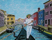 Gondolier Painting Prints - Gondolier at Venice Italy Print by Frank Hunter