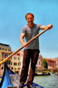 Venezia Metal Prints - Gondolier Metal Print by Jeff Kolker
