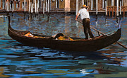 Canal Paintings - Gondoliere Sul Canale by Guido Borelli