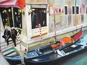 Ally Painting Framed Prints - Gondoliers in Venice Framed Print by Yow-Ning Chang