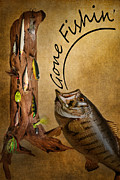Lures Posters - Gone FIshin Poster by Bill  Wakeley