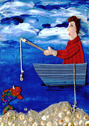 Acrylic Polymer Clay Framed Prints - Gone Fishing Framed Print by Jean Baardsen