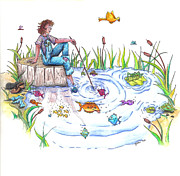 Tomboy Painting Posters - Gone Fishing Poster by Kelly Walston