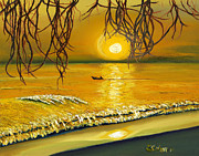 Caribbean Sea Paintings - Gone Fishn 1 by SCWarren