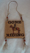 Ranch Pyrography Acrylic Prints - Gone Riding Acrylic Print by Dakota Sage