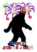 4th July Digital Art Posters - Gone Squatchin - 4th of July Poster by Gravityx Designs