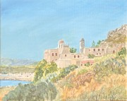 Summer Vacation Pastels Framed Prints - Gonias Monastery Kolymbari Crete Framed Print by David Capon