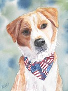 Dog Watercolor Framed Prints - Good boy Framed Print by Patricia Pushaw