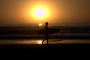 Surf Silhouette Prints - Good Day Done Print by Maureen Lovell
