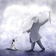 Good Dog....fetch.  Print by Marlene Watson