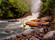Trout Stream Landscape Framed Prints - Good Fishing Framed Print by Michael Swanson