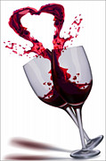 Wine Glasses Mixed Media Prints - Good for the Heart Print by Michael Knight