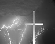 Lightning Bolts Metal Prints - Good Friday in Black and White Metal Print by James Bo Insogna
