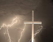 Lightning Prints - Good Friday in Sepia Print by James Bo Insogna