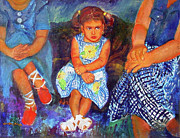 Children Print Painting Originals - Good Girl or Bored by Estela Robles Galiano