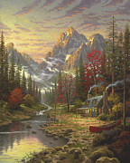 Cabin Painting Prints - Good Life Print by Thomas Kinkade