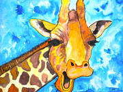 Blue Giraffes Mixed Media - Good Morning by Debi Pople