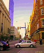 Corner Stores Paintings - Good Morning Drive By Yonge St Starbucks Toronto City Scape Paintings Canadian Urban Art C Spandau  by Carole Spandau