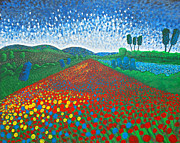 Post-impressionism Paintings - Good Morning in the Land of Poppies by Roberto Tapia