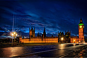 Traffic Pyrography Prints - Good Night Big Ben Print by Karl Wilson