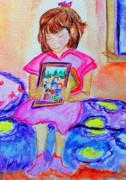 Little Girl Mixed Media - Good Night Family-Love Olivia by Helena Bebirian