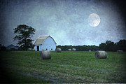 Hay Bales Digital Art Posters - Good Night Poster by Mary Timman