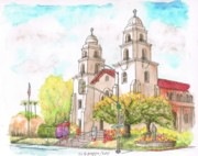 Building Painting Originals - Good Shepherd Church in Beverly Hills - California by Carlos G Groppa