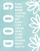 Words Prints - Good Things Blue Print by Linda Woods