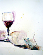 Wine Glasses Paintings - Good To The Last Drop by Patricia Ragone