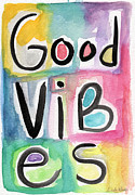 Typography Licensing Framed Prints - Good Vibes Framed Print by Linda Woods