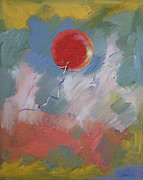 Party Balloons Framed Prints - Goodbye Red Balloon Framed Print by Michael Creese