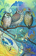Owl Pastels Framed Prints - Goodmorning Hoot Framed Print by Jane Wilcoxson