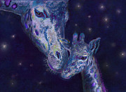 Sleepy Digital Art Prints - Goodnight Giraffes Print by Jane Schnetlage
