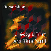 Symmetrical Design Posters - Google First Then Post Poster by Barbara Snyder