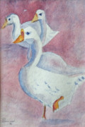 Geese Paintings - Goose Chase by Gilbert Pennison
