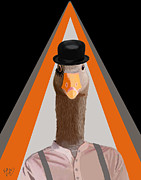 Orange Framed Prints Digital Art Prints - Goose Clockwork Orange Print by Kelly McLaughlan