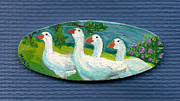 White Flowering Bush Paintings - Goose Gathering by Marla Hoover