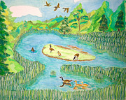 Geese Paintings - Goose Heaven by Cora Morely Eklund